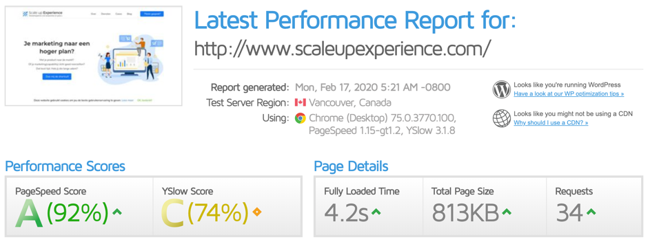 Hoger in Google PageSpeed Insights tool