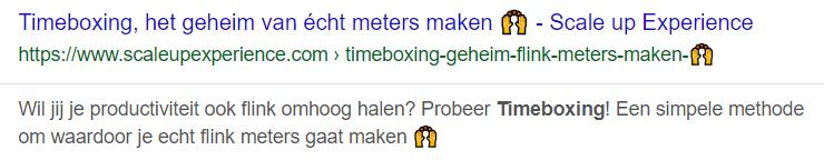 Seo Kopregel Hoger in Google